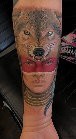 tattoo - native American, wolf head